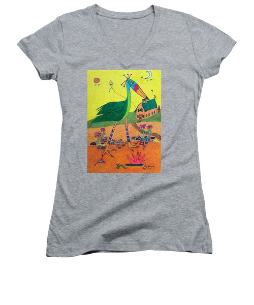 Green Crane With Leggings And Painted Toes Women's V-Neck