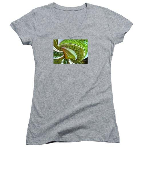 Women's V-Neck T-Shirt (Junior Cut) featuring the digital art Green Diamonds by Melissa Messick