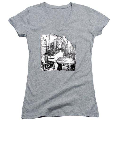 Women's V-Neck T-Shirt (Junior Cut) featuring the drawing Green Dragon Inn's Writing Nook T-shirt by Kathy Kelly