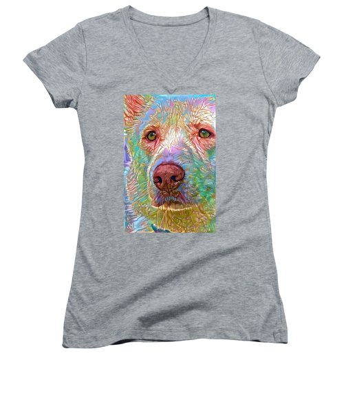 Green Eyes Women's V-Neck T-Shirt (Junior Cut) by Geri Glavis