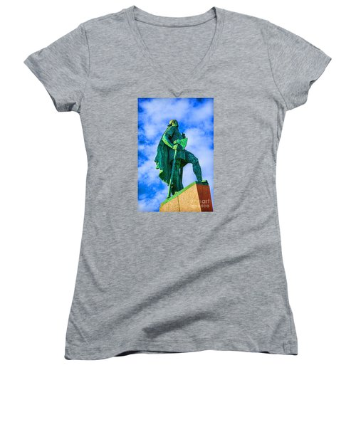 Women's V-Neck T-Shirt (Junior Cut) featuring the photograph Green Leader by Rick Bragan
