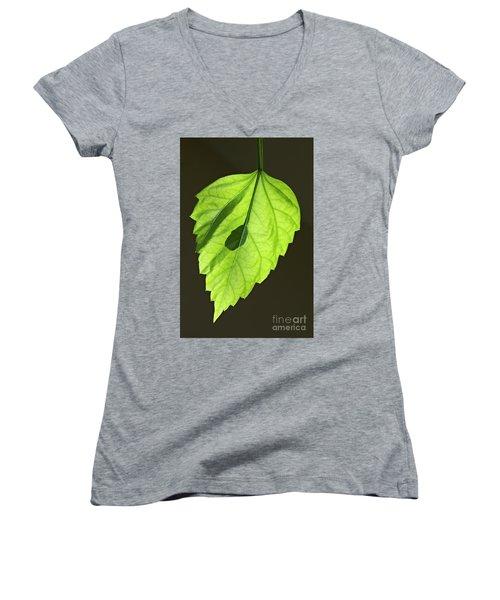 Green Leaf Women's V-Neck T-Shirt (Junior Cut) by Tony Cordoza