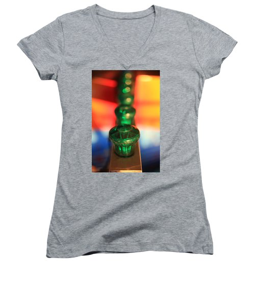 Women's V-Neck T-Shirt featuring the photograph Green Lights by Lora Lee Chapman