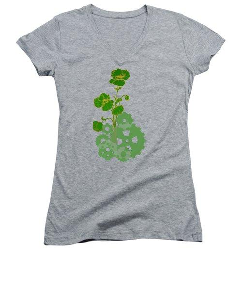 Green Mechanical Flowers Women's V-Neck