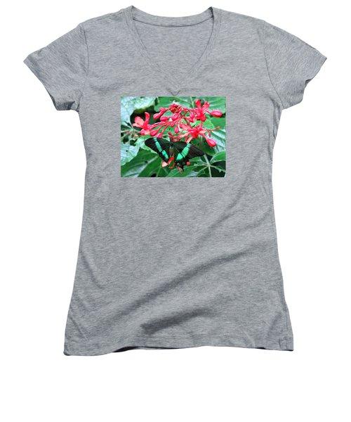Green Moss Peacock Butterfly Women's V-Neck T-Shirt