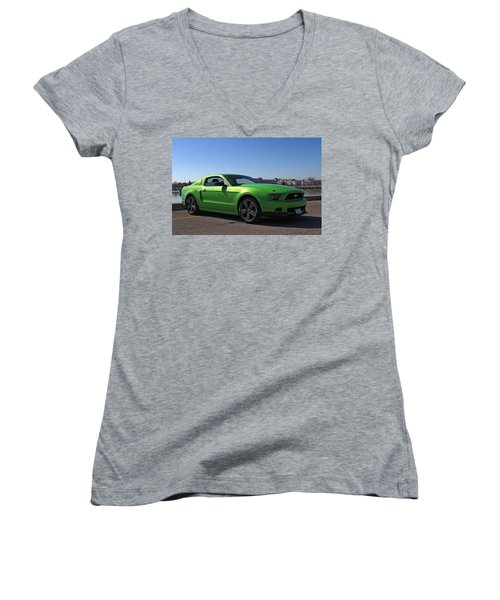 Green Mustang Women's V-Neck T-Shirt (Junior Cut) by Davandra Cribbie