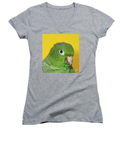 Green Parrot Head Shot Women's V-Neck