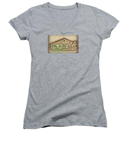 Green Parrot Women's V-Neck T-Shirt (Junior Cut) by Scott Meyer