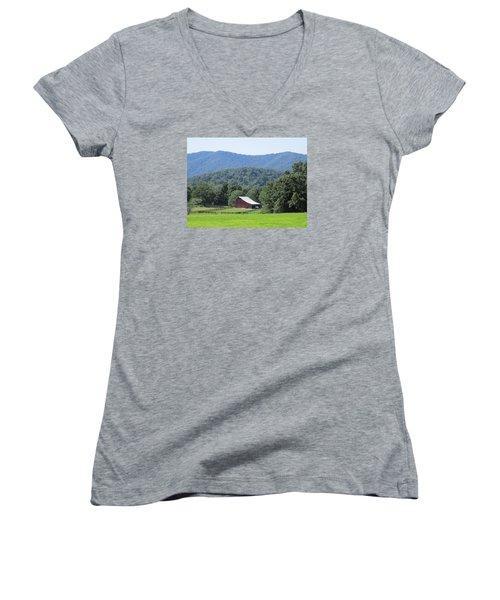 Mountain Barn Retreat Women's V-Neck T-Shirt (Junior Cut) by Charlotte Gray