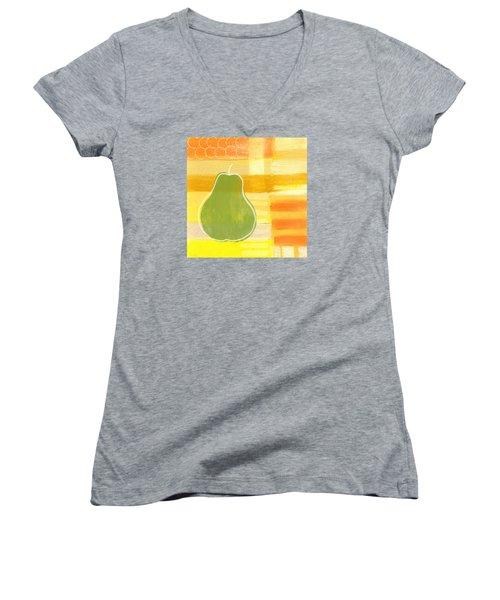 Green Pear- Art By Linda Woods Women's V-Neck