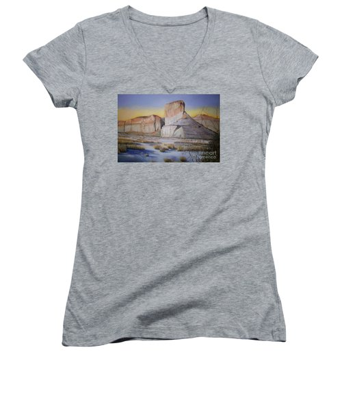 Women's V-Neck T-Shirt (Junior Cut) featuring the painting Green River Wyoming by Marlene Book