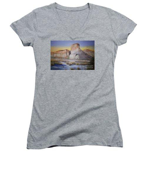 Green River Wyoming Women's V-Neck T-Shirt (Junior Cut) by Marlene Book