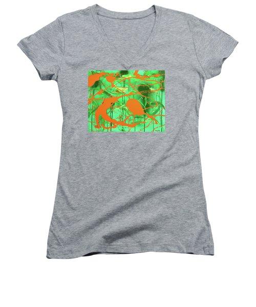 Green Spill Women's V-Neck