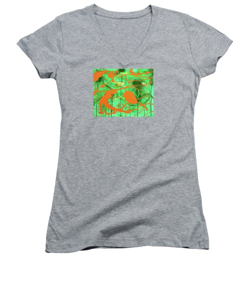 Green Spill Women's V-Neck
