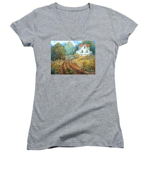 Green Striped Awnings Women's V-Neck T-Shirt