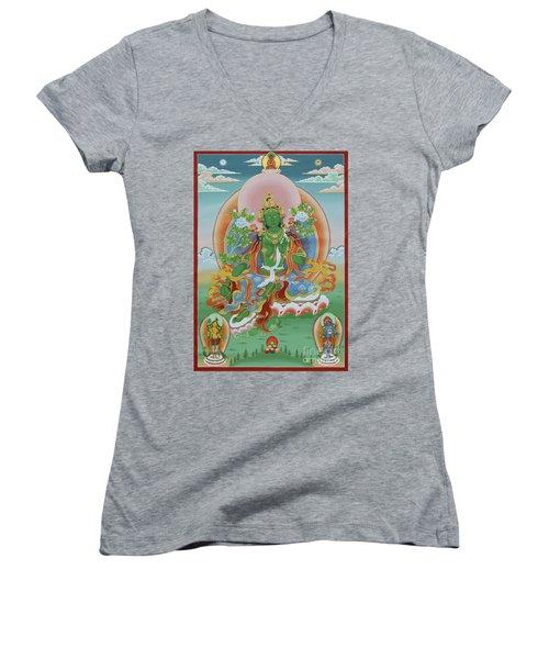 Green Tara With Retinue Women's V-Neck T-Shirt (Junior Cut) by Sergey Noskov
