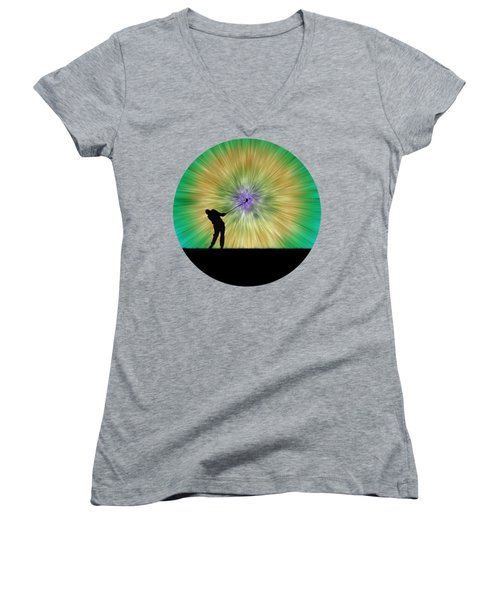 Green Tie Dye Golfer Silhouette Women's V-Neck T-Shirt (Junior Cut) by Phil Perkins