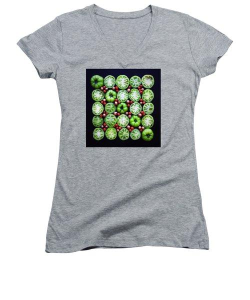 Green Tomato Slice Pattern Women's V-Neck