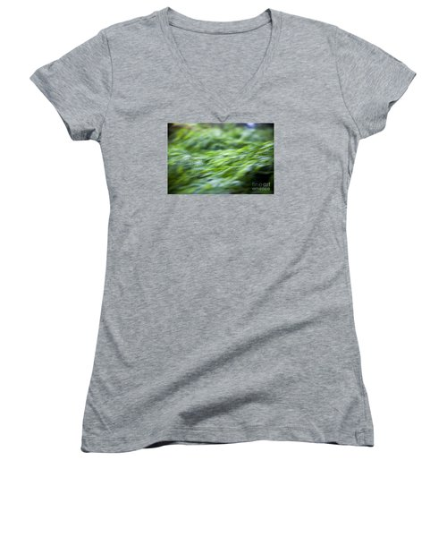 Women's V-Neck T-Shirt (Junior Cut) featuring the photograph Green Waterfall 1 by Serene Maisey