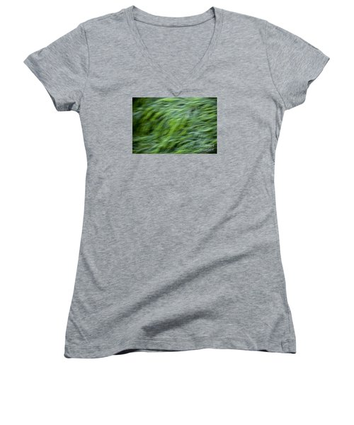 Women's V-Neck T-Shirt (Junior Cut) featuring the photograph Green Waterfall 2 by Serene Maisey