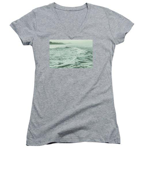 Green Waves Women's V-Neck T-Shirt (Junior Cut) by Iris Greenwell