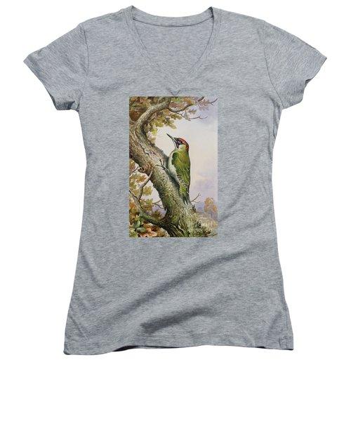 Green Woodpecker Women's V-Neck T-Shirt (Junior Cut) by Carl Donner