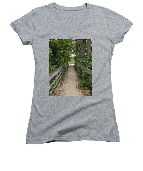 Greenery Bridge Women's V-Neck T-Shirt