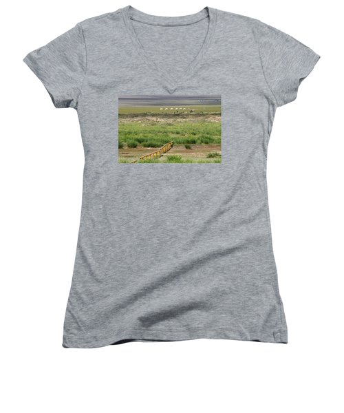 Women's V-Neck T-Shirt (Junior Cut) featuring the photograph Greenery In Desert, Gobi, 2016 by Hitendra SINKAR