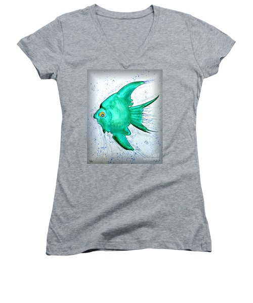 Women's V-Neck T-Shirt (Junior Cut) featuring the mixed media Greenfish by Walt Foegelle