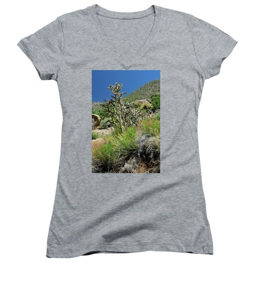 Women's V-Neck featuring the photograph Greening Of The High Desert by Ron Cline
