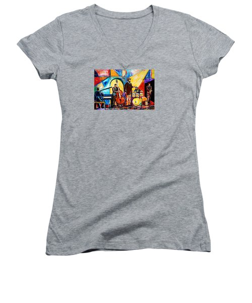 Gregory Porter And Band Women's V-Neck T-Shirt (Junior Cut) by Everett Spruill