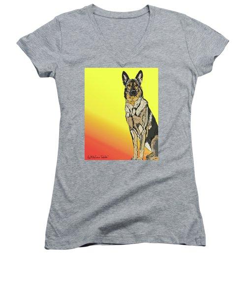 Gretchen In Digital Women's V-Neck T-Shirt (Junior Cut) by Ania M Milo