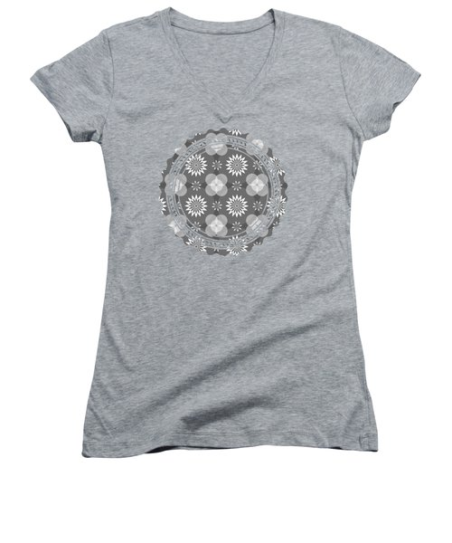 Grey Circles And Flowers Pattern Women's V-Neck