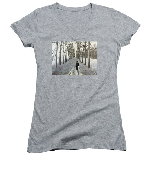 Women's V-Neck T-Shirt (Junior Cut) featuring the painting Grey Day by Thomas Blood