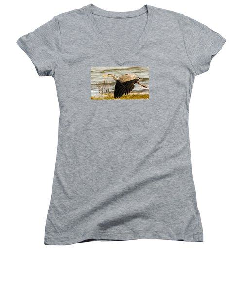 Grey Heron In Flight Women's V-Neck (Athletic Fit)