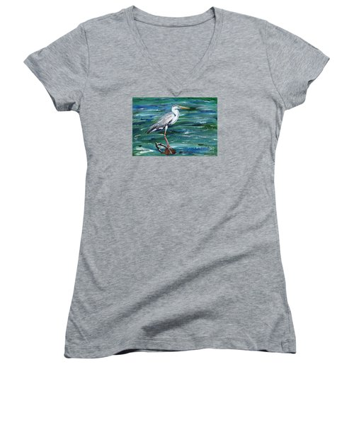 Grey Heron Of Cornwall -painting Women's V-Neck T-Shirt (Junior Cut) by Veronica Rickard