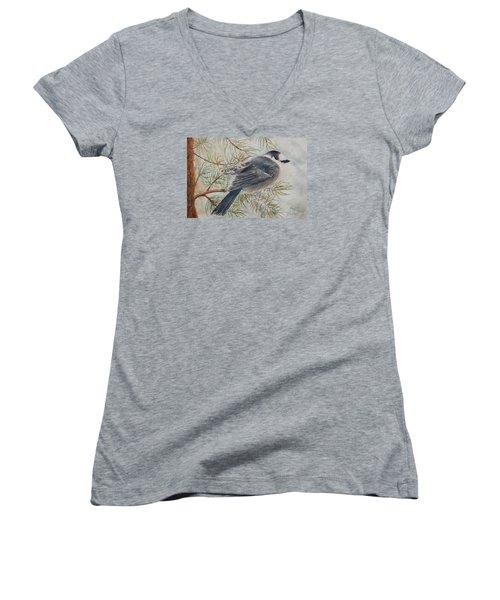 Grey Jay Women's V-Neck T-Shirt (Junior Cut) by Ruth Kamenev
