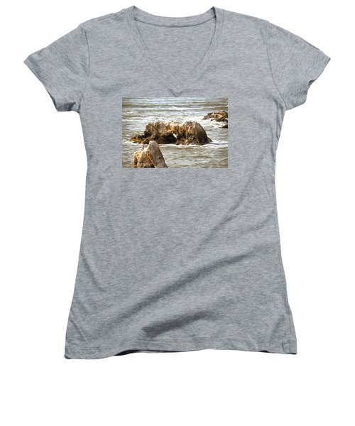 Women's V-Neck T-Shirt (Junior Cut) featuring the photograph Grey Water At Window Rock by Barbara Snyder
