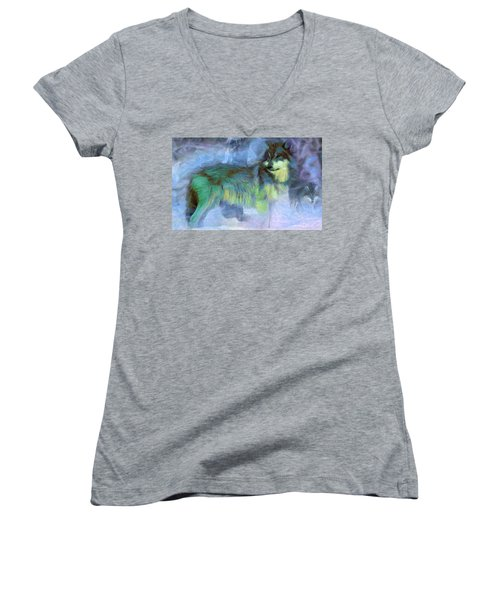 Grey Wolves In Snow Women's V-Neck T-Shirt (Junior Cut) by Caito Junqueira