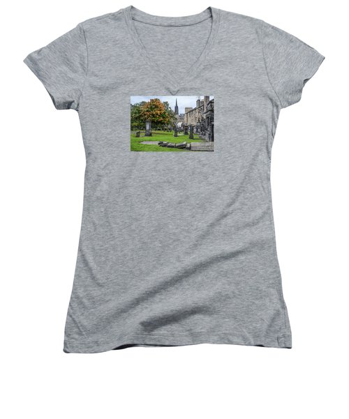 Greyfriars Kirkyard 1562  Women's V-Neck T-Shirt