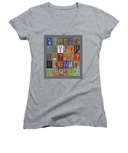 Grid Letters Women's V-Neck T-Shirt