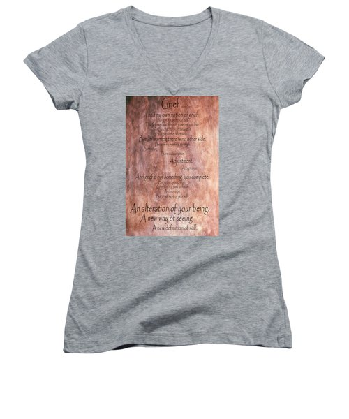 Women's V-Neck T-Shirt (Junior Cut) featuring the mixed media Grief 1 by Angelina Vick