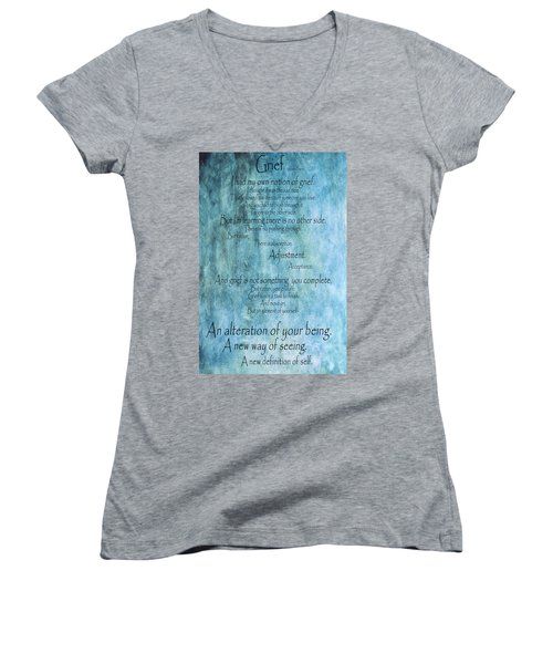 Women's V-Neck T-Shirt (Junior Cut) featuring the mixed media Grief 2 by Angelina Vick