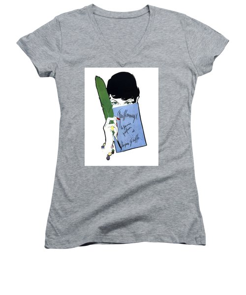 Women's V-Neck (Athletic Fit) featuring the digital art Griffe by ReInVintaged