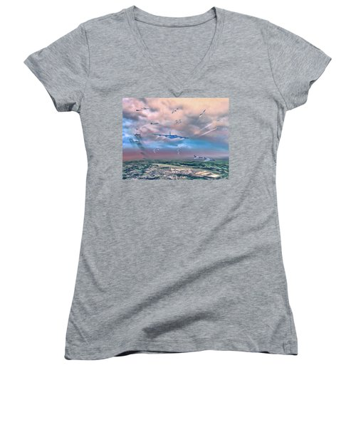 Griffiss Afb Rome Ny Women's V-Neck T-Shirt (Junior Cut) by Dave Luebbert