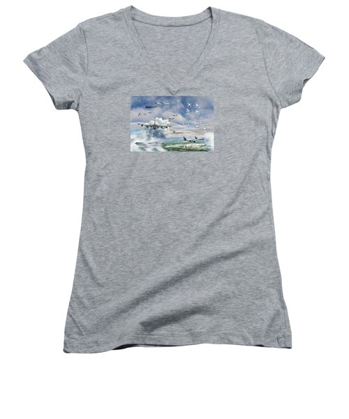 Women's V-Neck T-Shirt (Junior Cut) featuring the painting Griffiss Air Force Base by Dave Luebbert