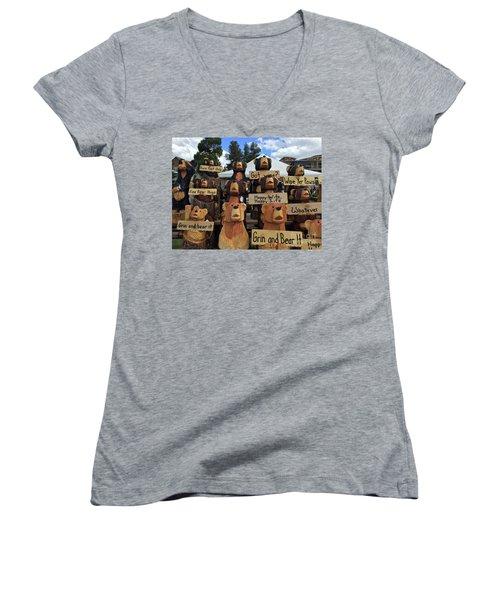 Grin And Bear It Women's V-Neck T-Shirt (Junior Cut) by Beth Saffer