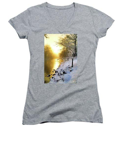 Grings Mill Fog 010 Women's V-Neck T-Shirt (Junior Cut) by Scott McAllister