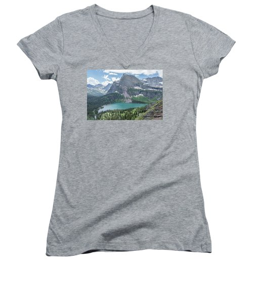 Grinnell Lake From Afar Women's V-Neck T-Shirt (Junior Cut) by Alpha Wanderlust
