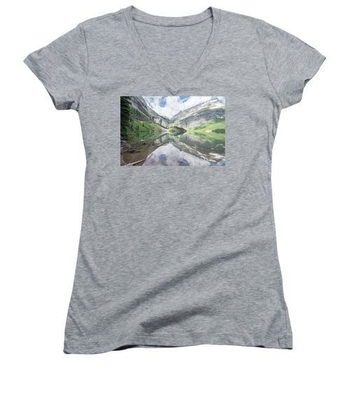 Grinnell Lake Mirrored Women's V-Neck T-Shirt (Junior Cut) by Alpha Wanderlust